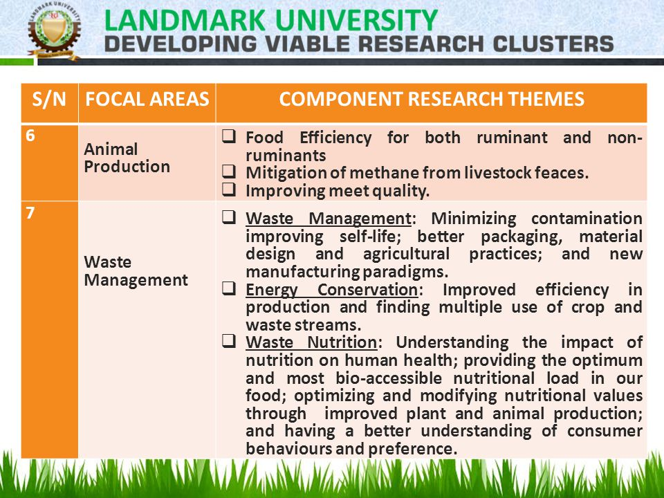 S/NFOCAL AREASCOMPONENT RESEARCH THEMES 6 Animal Production  Food Efficiency for both ruminant and non- ruminants  Mitigation of methane from livestock feaces.