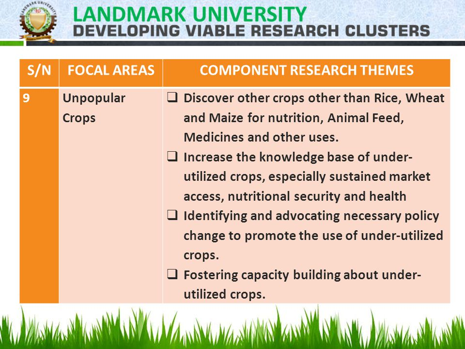S/NFOCAL AREASCOMPONENT RESEARCH THEMES 9Unpopular Crops  Discover other crops other than Rice, Wheat and Maize for nutrition, Animal Feed, Medicines and other uses.