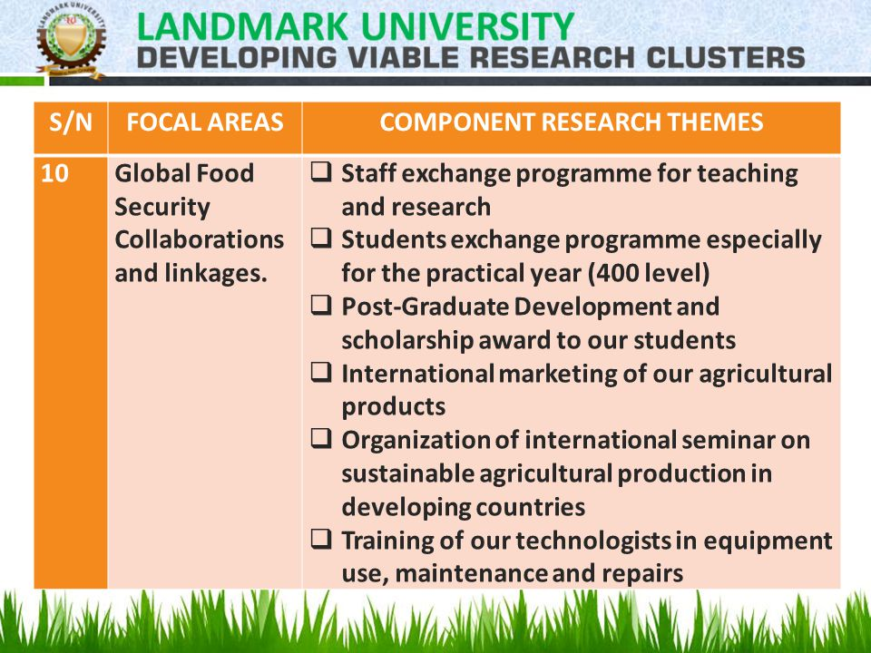 S/NFOCAL AREASCOMPONENT RESEARCH THEMES 10Global Food Security Collaborations and linkages.
