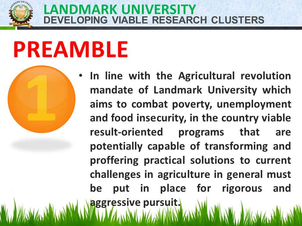 In line with the Agricultural revolution mandate of Landmark University which aims to combat poverty, unemployment and food insecurity, in the country viable result-oriented programs that are potentially capable of transforming and proffering practical solutions to current challenges in agriculture in general must be put in place for rigorous and aggressive pursuit.