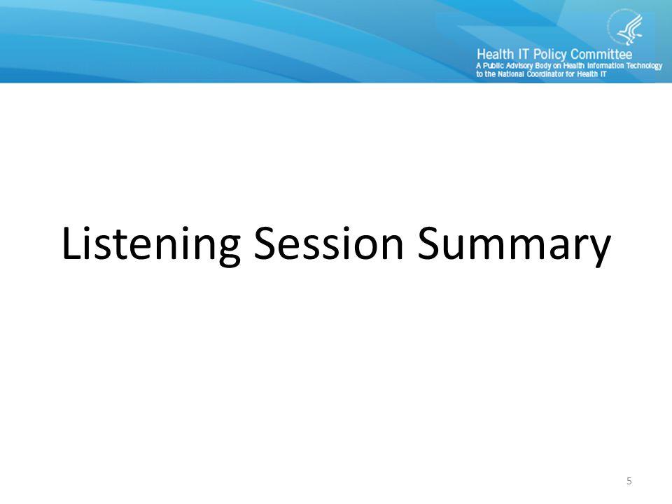Listening Session Summary 5