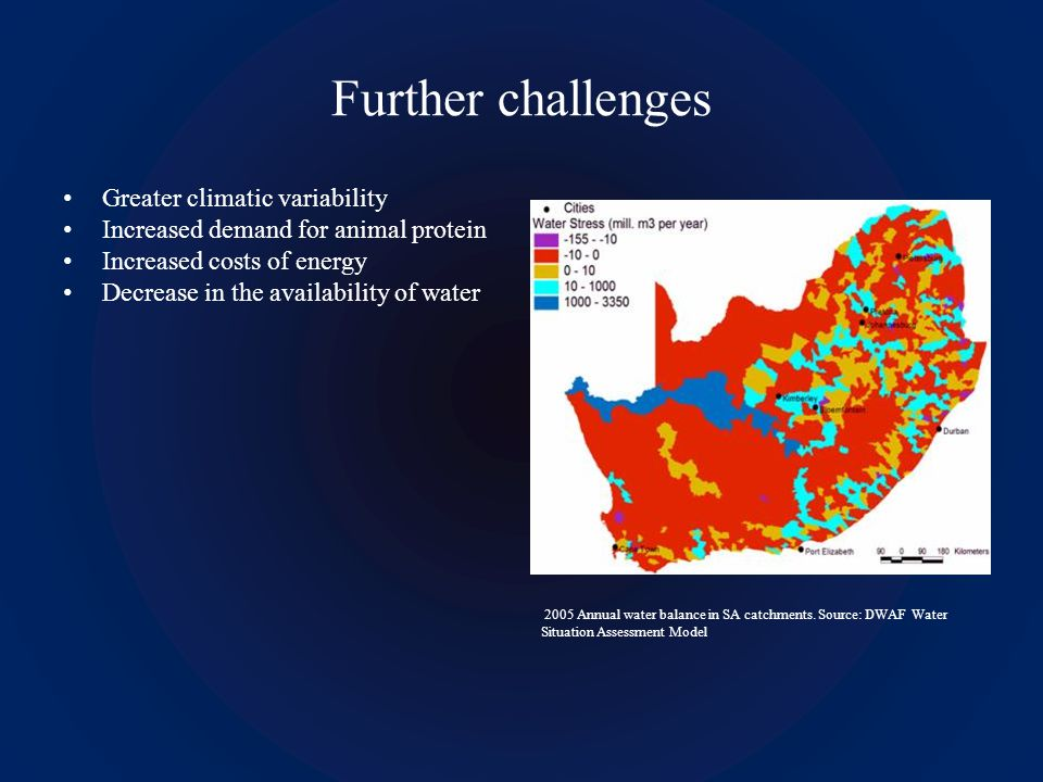 Further challenges Greater climatic variability Increased demand for animal protein Increased costs of energy Decrease in the availability of water 2005 Annual water balance in SA catchments.