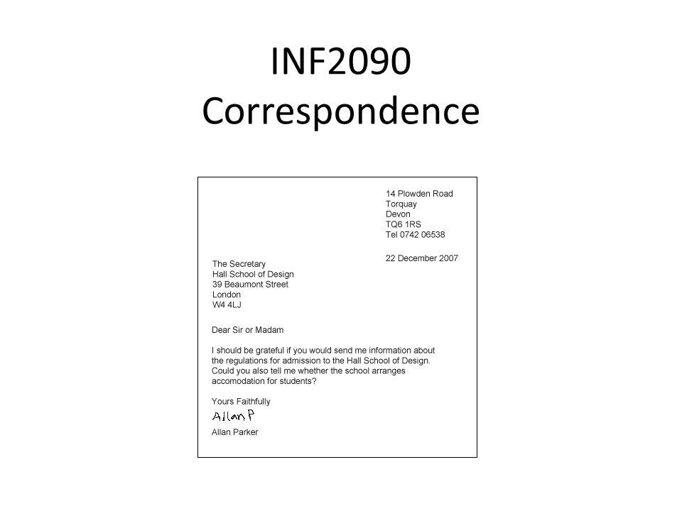 INF2090 Correspondence