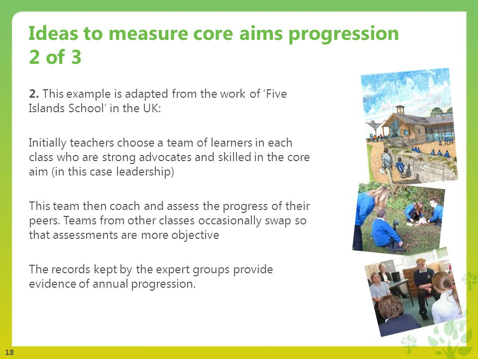 18 Ideas to measure core aims progression 2 of 3 2.