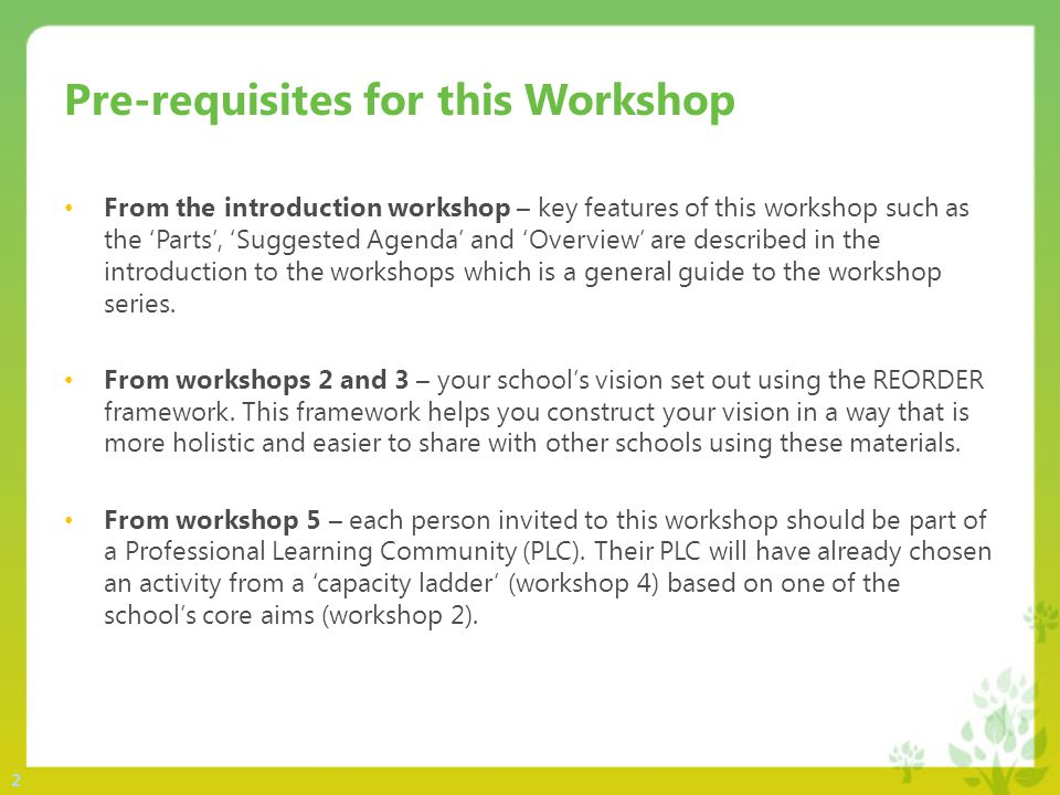 2 Pre-requisites for this Workshop From the introduction workshop – key features of this workshop such as the 'Parts', 'Suggested Agenda' and 'Overview' are described in the introduction to the workshops which is a general guide to the workshop series.