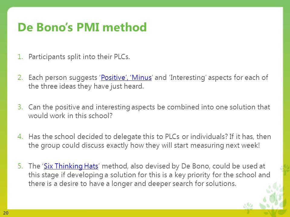 20 De Bono's PMI method 1.Participants split into their PLCs.