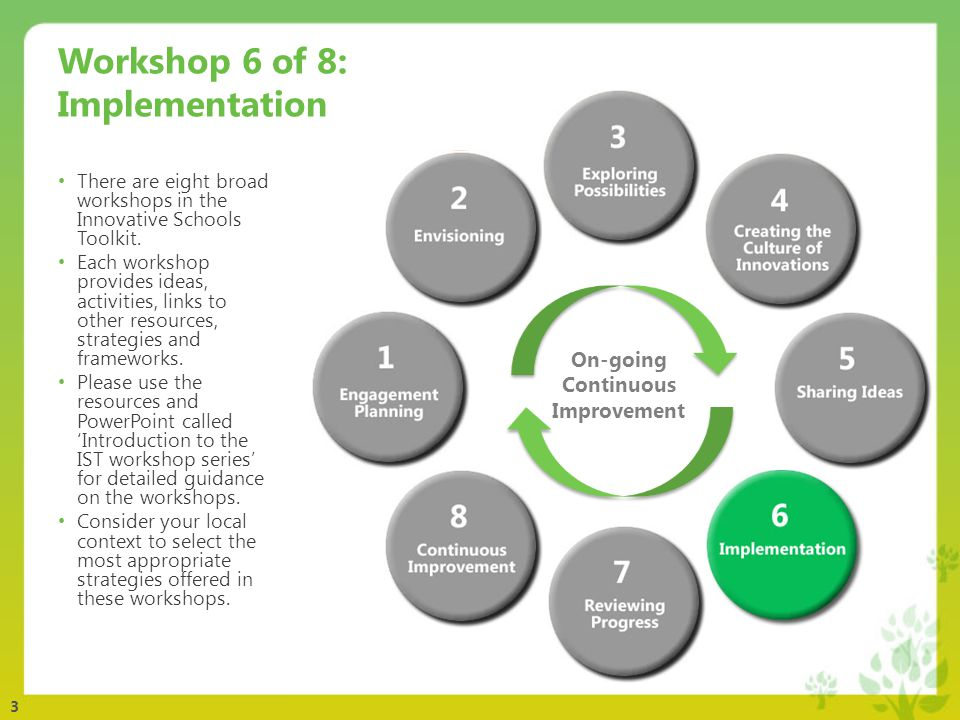 3 Workshop 6 of 8: Implementation There are eight broad workshops in the Innovative Schools Toolkit.