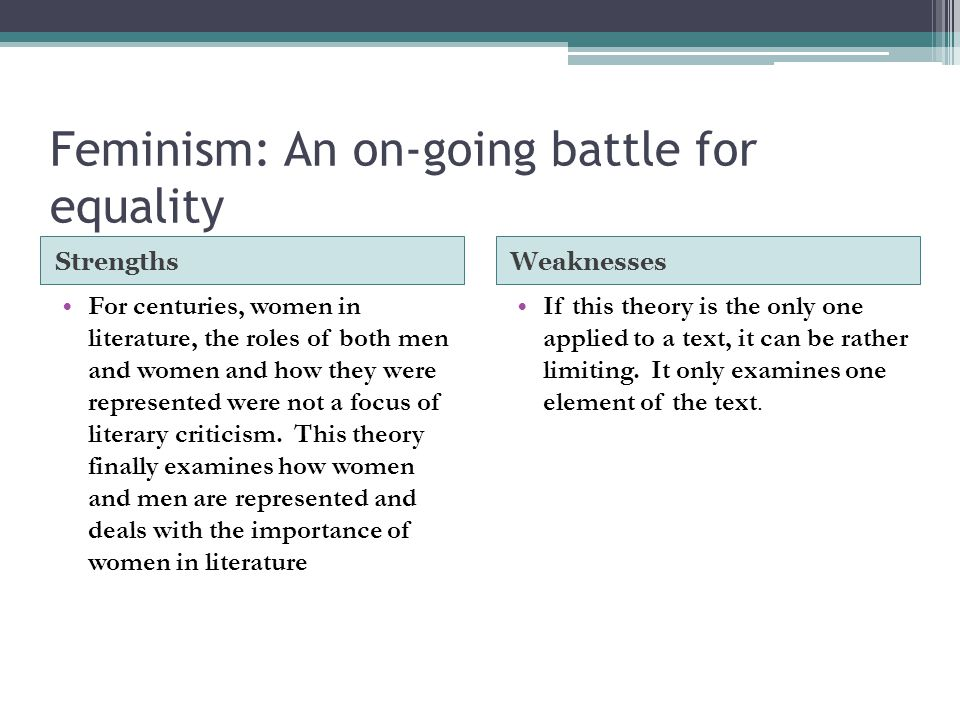 Feminism: An on-going battle for equality StrengthsWeaknesses For centuries, women in literature, the roles of both men and women and how they were re
