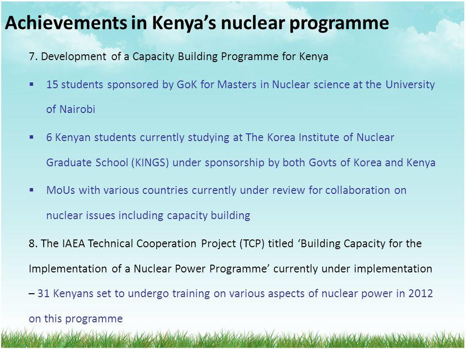 Achievements in Kenya's nuclear programme 7.