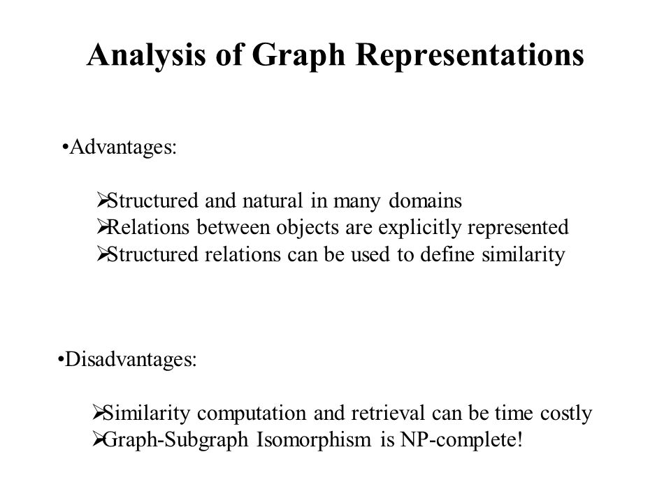 Analysis of Graph Representations Advantages:  Structured and natural in many domains  Relations between objects are explicitly represented  Structured relations can be used to define similarity Disadvantages:  Similarity computation and retrieval can be time costly  Graph-Subgraph Isomorphism is NP-complete!