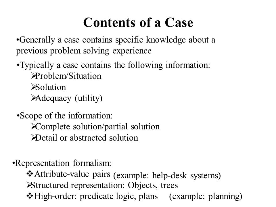 Information About the Problem/Situation A problem/situation may described:  A solved problem  An analyzed situation (example: diagnosis) (example: military domain) The description of a situation must contain all information necessary to determine if a case can be reused in other situations (the Eastern Exit Operation example) Situation/problem description may contain:  Goal of the case  Constraints and conditions  In general, any relevant information