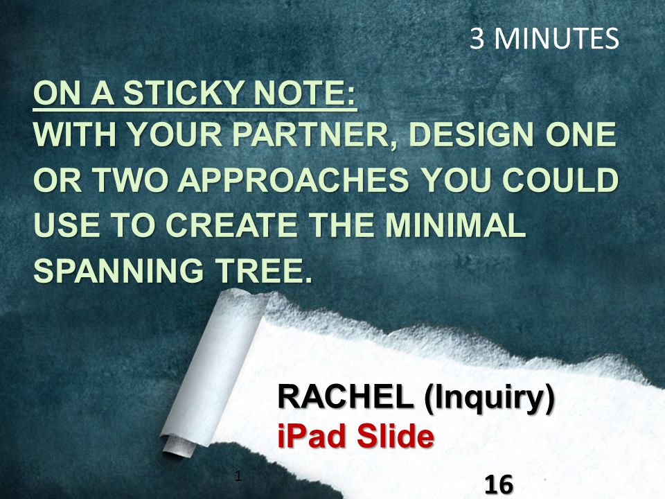 116 RACHEL (Inquiry) iPad Slide 3 MINUTES ON A STICKY NOTE: WITH YOUR PARTNER, DESIGN ONE OR TWO APPROACHES YOU COULD USE TO CREATE THE MINIMAL SPANNI