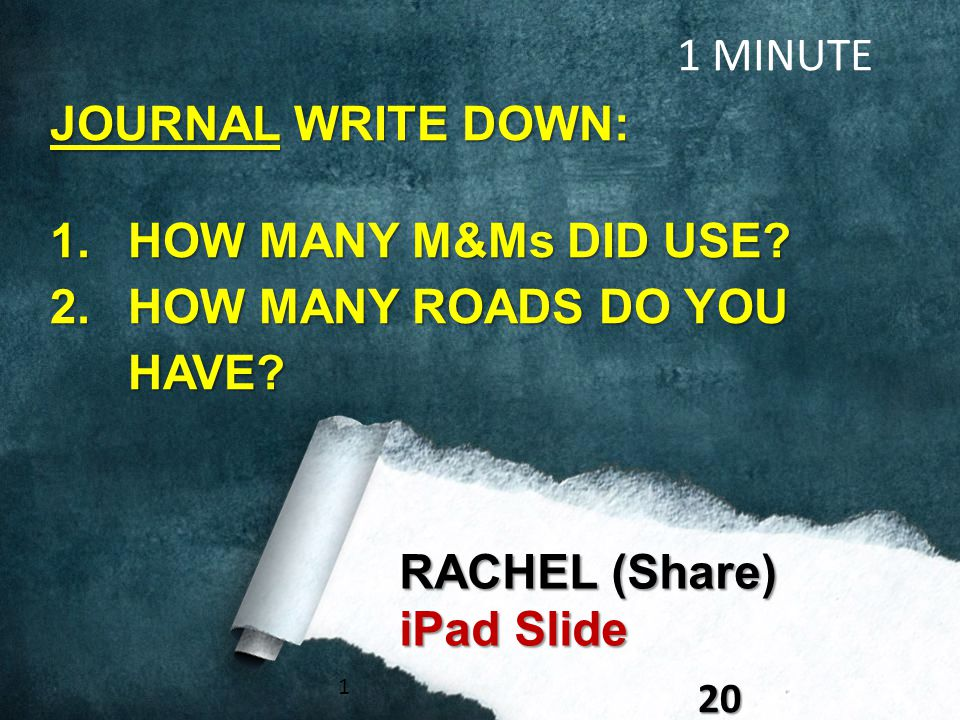 120 RACHEL (Share) iPad Slide 1 MINUTE JOURNAL WRITE DOWN: 1.HOW MANY M&Ms DID USE? 2.HOW MANY ROADS DO YOU HAVE?