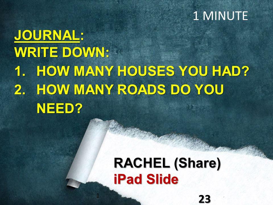 123 RACHEL (Share) iPad Slide 1 MINUTE JOURNAL: WRITE DOWN: 1.HOW MANY HOUSES YOU HAD.