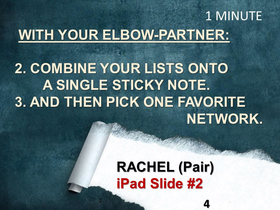 WITH YOUR ELBOW-PARTNER: WITH YOUR ELBOW-PARTNER: 2. COMBINE YOUR LISTS ONTO A SINGLE STICKY NOTE. A SINGLE STICKY NOTE. 3. AND THEN PICK ONE FAVORITE