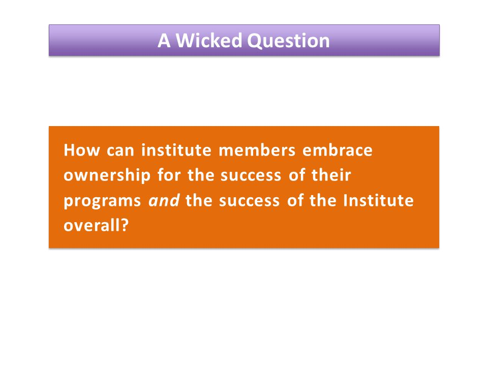 A Wicked Question How can institute members embrace ownership for the success of their programs and the success of the Institute overall