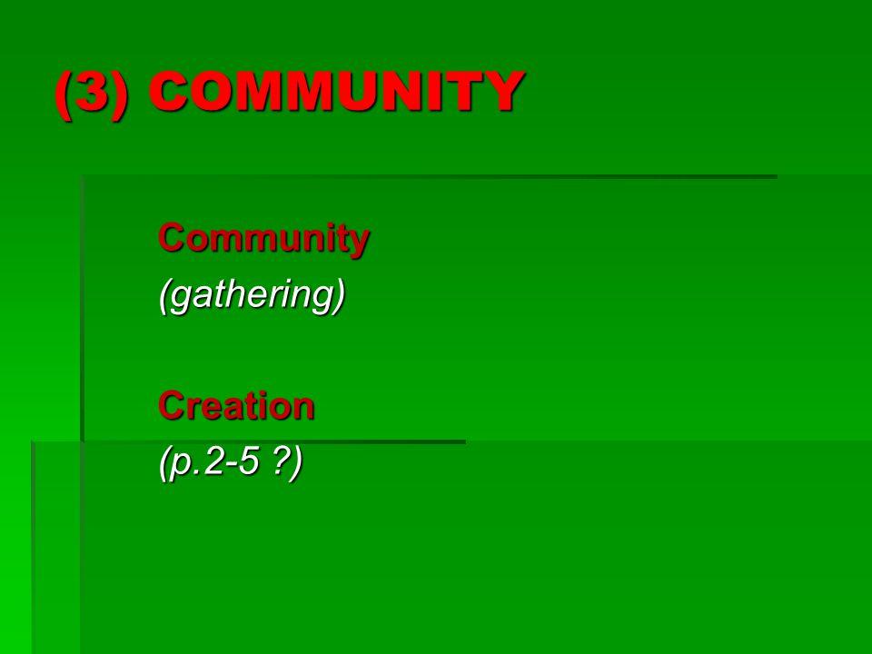 (3) COMMUNITY Community(gathering)Creation (p.2-5 )