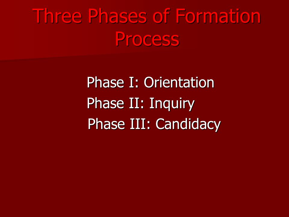 Three Phases of Formation Process Phase I: Orientation Phase I: Orientation Phase II: Inquiry Phase II: Inquiry Phase III: Candidacy