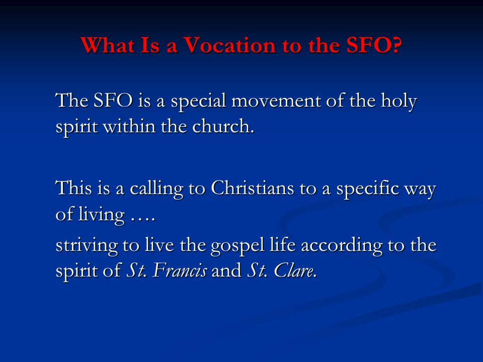What Is a Vocation to the SFO. The SFO is a special movement of the holy spirit within the church.