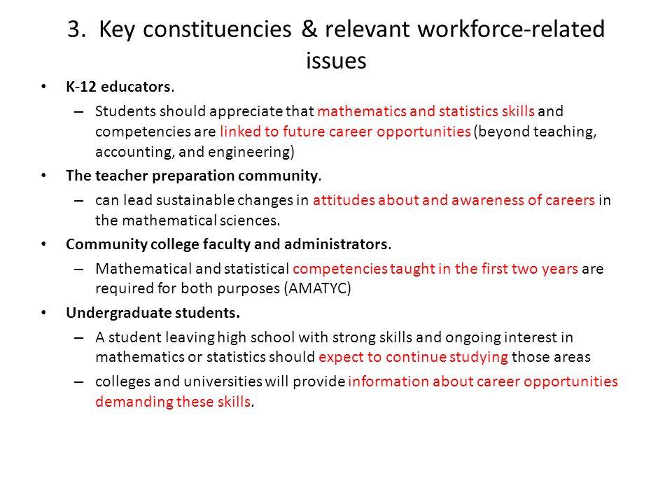 3. Key constituencies & relevant workforce-related issues K-12 educators. – Students should appreciate that mathematics and statistics skills and comp