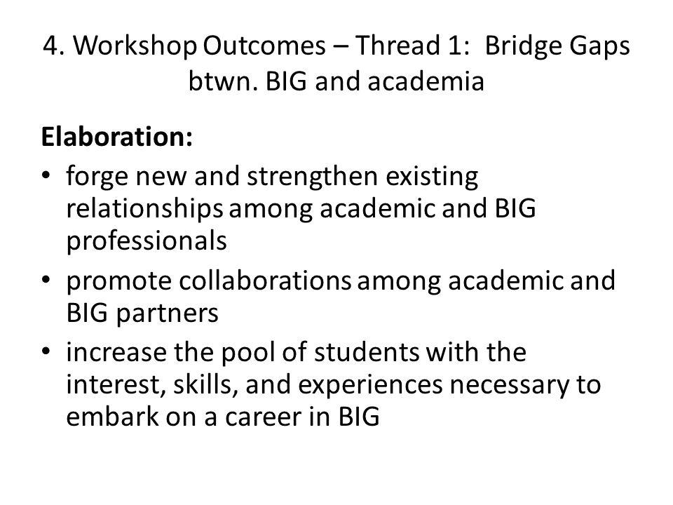 4. Workshop Outcomes – Thread 1: Bridge Gaps btwn.