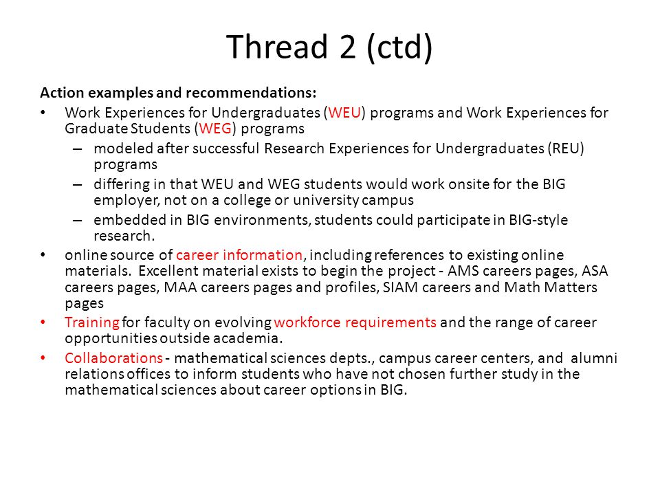Thread 2 (ctd) Action examples and recommendations: Work Experiences for Undergraduates (WEU) programs and Work Experiences for Graduate Students (WEG) programs – modeled after successful Research Experiences for Undergraduates (REU) programs – differing in that WEU and WEG students would work onsite for the BIG employer, not on a college or university campus – embedded in BIG environments, students could participate in BIG-style research.