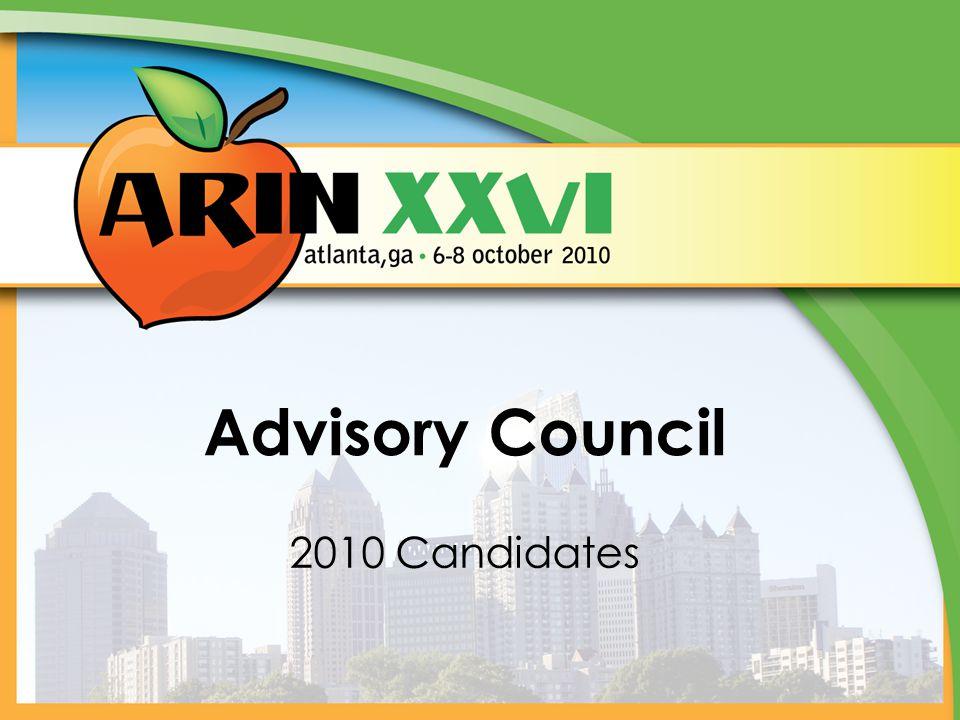 Advisory Council 2010 Candidates