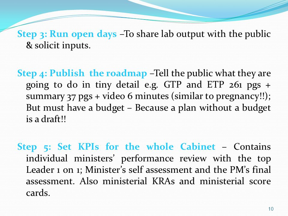 Step 3: Run open days –To share lab output with the public & solicit inputs.