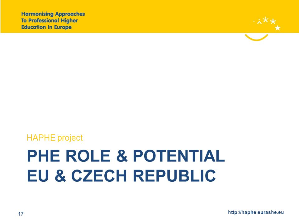 http://haphe.eurashe.eu 17 PHE ROLE & POTENTIAL EU & CZECH REPUBLIC HAPHE project