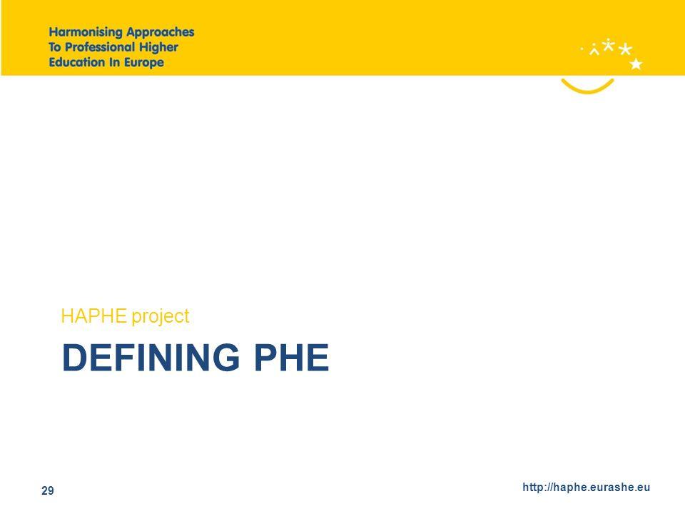 http://haphe.eurashe.eu 29 DEFINING PHE HAPHE project