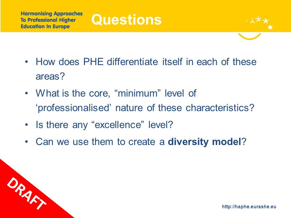 http://haphe.eurashe.eu 33 Questions How does PHE differentiate itself in each of these areas.