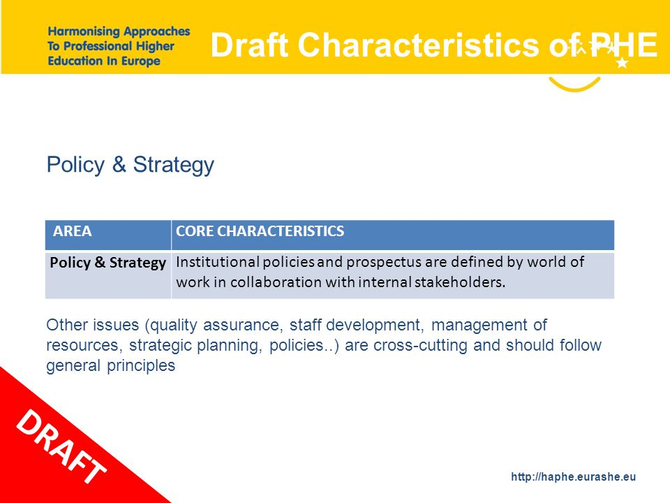 http://haphe.eurashe.eu 37 AREACORE CHARACTERISTICS Policy & Strategy Institutional policies and prospectus are defined by world of work in collaboration with internal stakeholders.