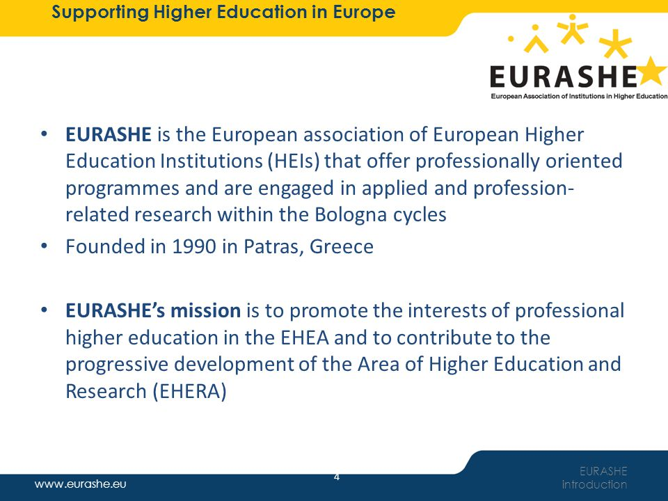 www.eurashe.eu Supporting Higher Education in Europe 5 Role of EURASHE Representation & promotion of a widely- comprehended PHE within the changing environment: – A variety of institutions with PHE – Both associations and individual institutions Policy formulation at EU/EHEA level – Focus on HE and relevant activities, not wider context (e.g.
