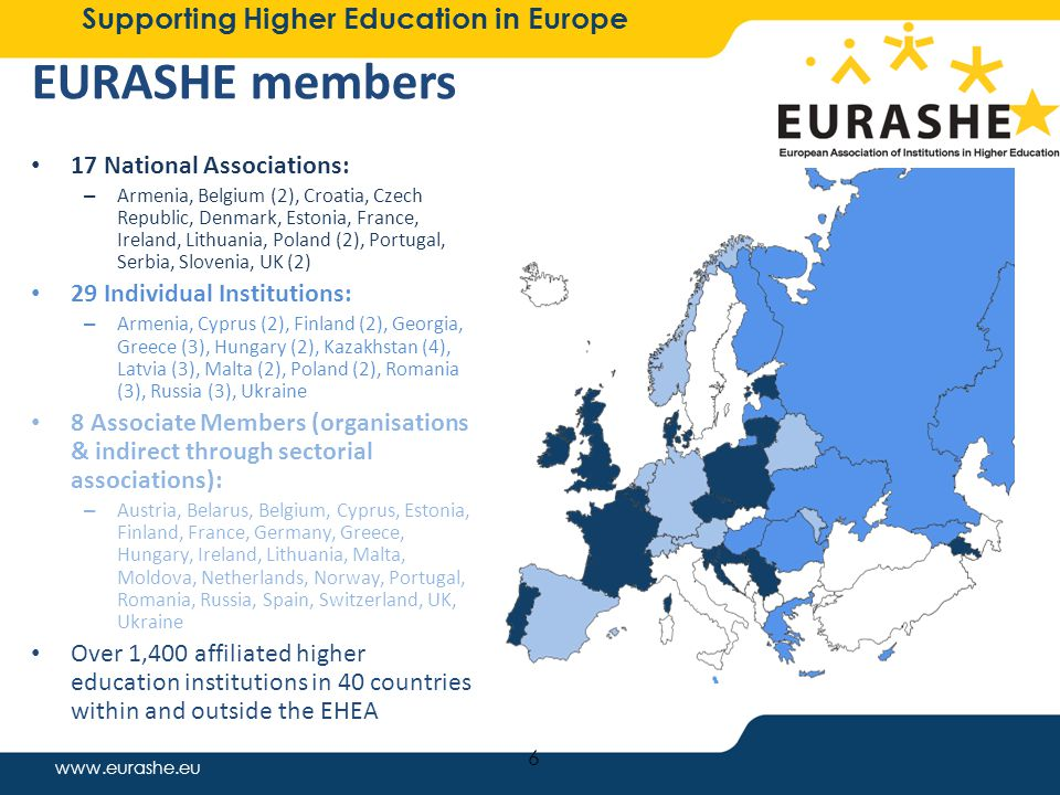 www.eurashe.eu Supporting Higher Education in Europe 17 National Associations: – Armenia, Belgium (2), Croatia, Czech Republic, Denmark, Estonia, France, Ireland, Lithuania, Poland (2), Portugal, Serbia, Slovenia, UK (2) 29 Individual Institutions: – Armenia, Cyprus (2), Finland (2), Georgia, Greece (3), Hungary (2), Kazakhstan (4), Latvia (3), Malta (2), Poland (2), Romania (3), Russia (3), Ukraine 8 Associate Members (organisations & indirect through sectorial associations): – Austria, Belarus, Belgium, Cyprus, Estonia, Finland, France, Germany, Greece, Hungary, Ireland, Lithuania, Malta, Moldova, Netherlands, Norway, Portugal, Romania, Russia, Spain, Switzerland, UK, Ukraine Over 1,400 affiliated higher education institutions in 40 countries within and outside the EHEA 6 EURASHE members