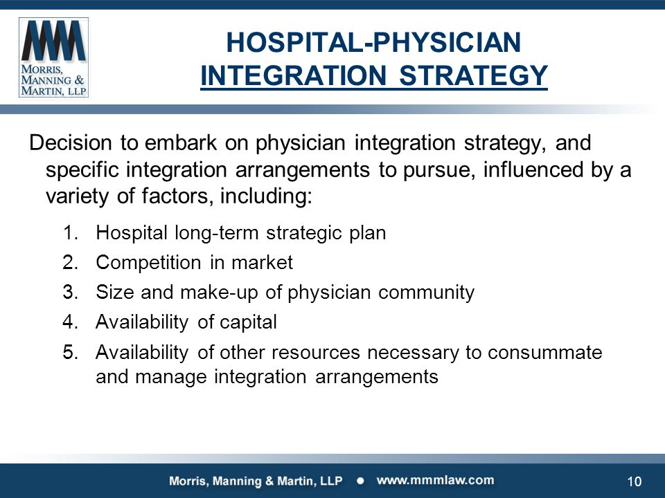 HOSPITAL-PHYSICIAN INTEGRATION STRATEGY Decision to embark on physician integration strategy, and specific integration arrangements to pursue, influen