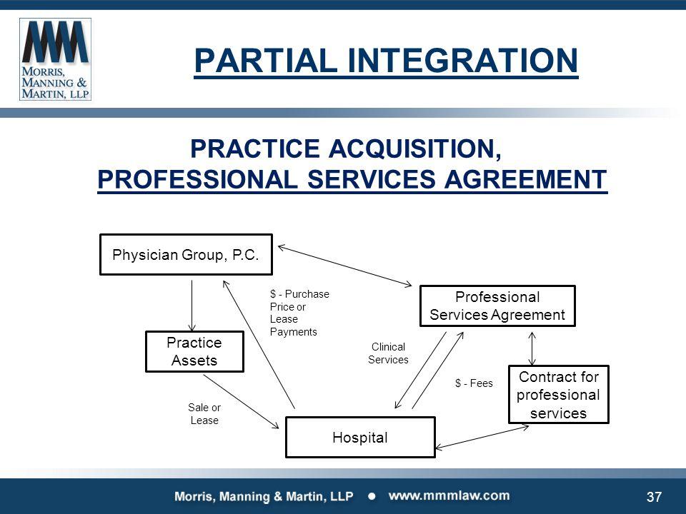 PARTIAL INTEGRATION PRACTICE ACQUISITION, PROFESSIONAL SERVICES AGREEMENT Physician Group, P.C. Practice Assets Professional Services Agreement Hospit