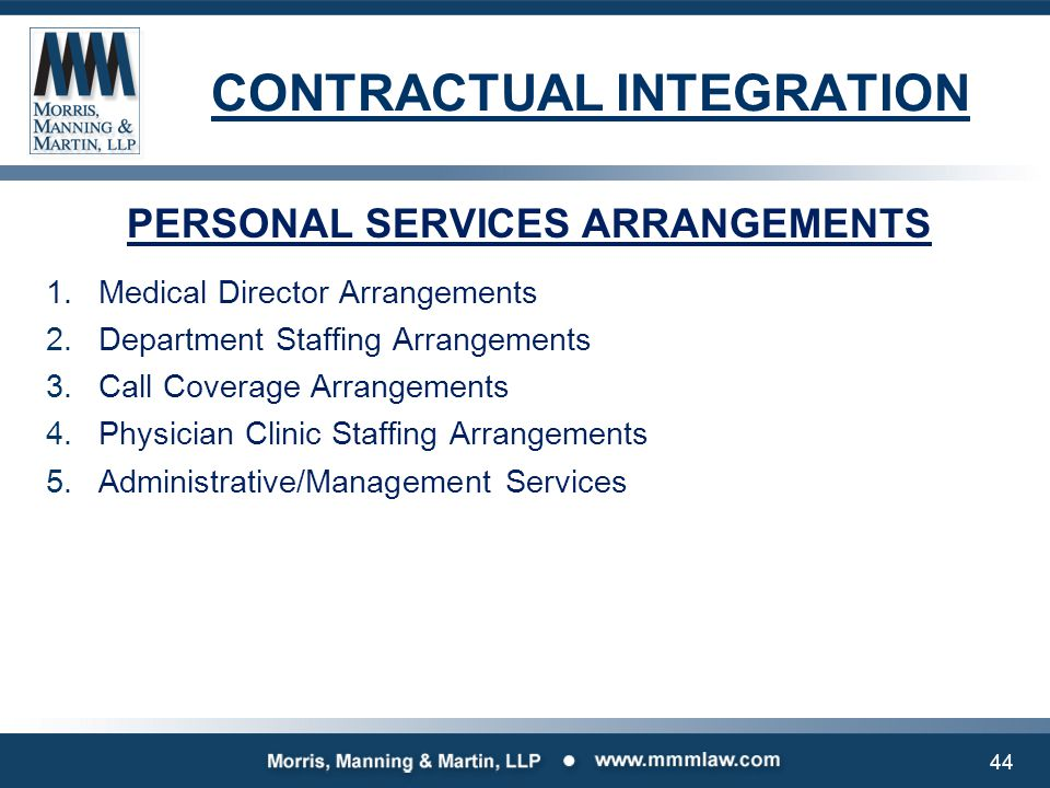 CONTRACTUAL INTEGRATION PERSONAL SERVICES ARRANGEMENTS 1.Medical Director Arrangements 2.Department Staffing Arrangements 3.Call Coverage Arrangements