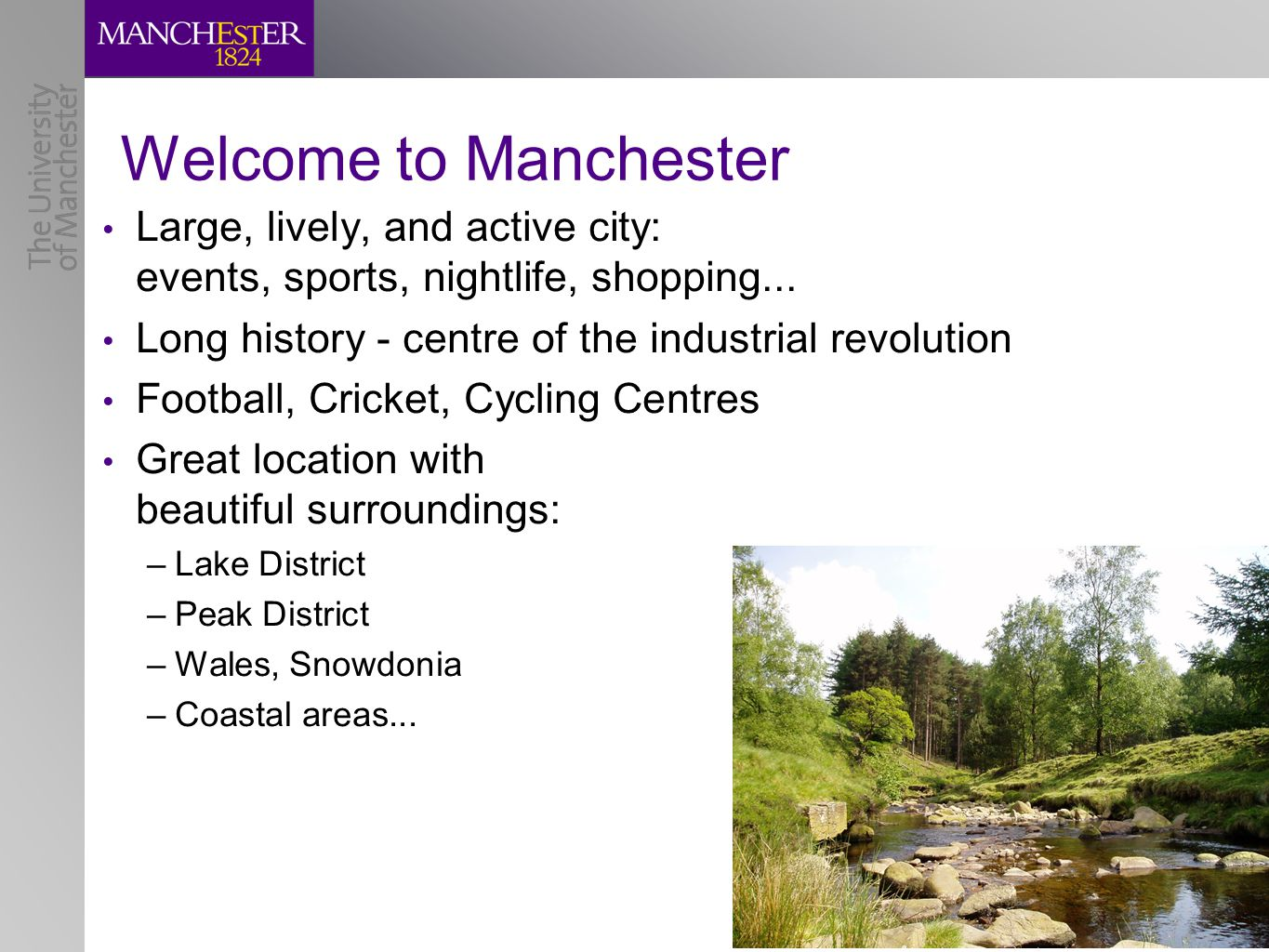 Welcome to Manchester Large, lively, and active city: events, sports, nightlife, shopping...
