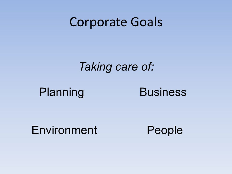 Corporate Goals Taking care of: PlanningBusiness EnvironmentPeople
