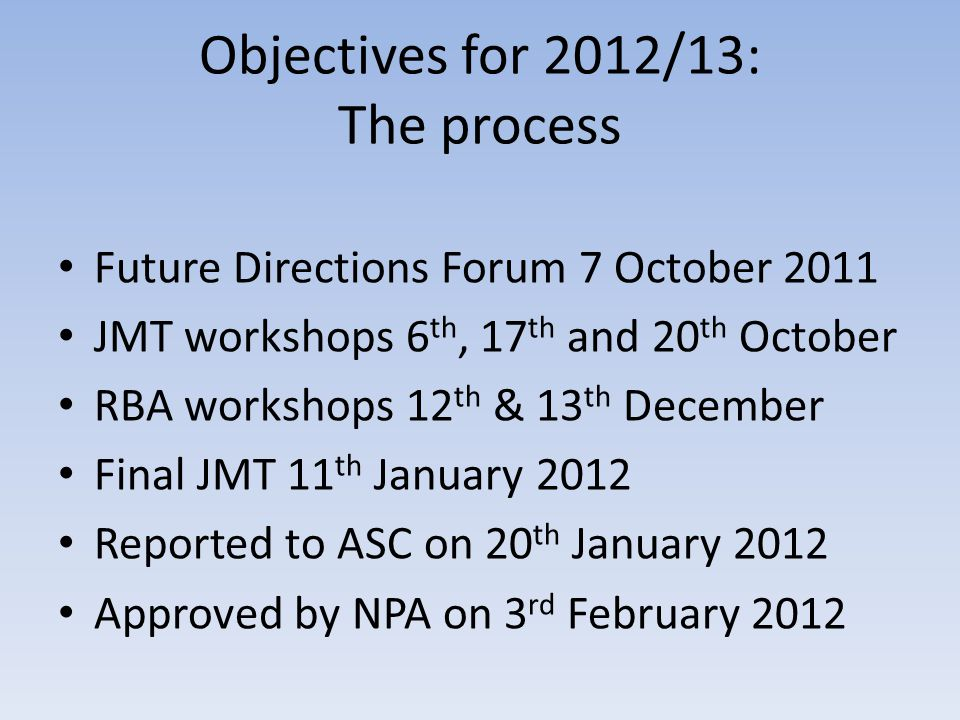 Objectives for 2012/13: The process Future Directions Forum 7 October 2011 JMT workshops 6 th, 17 th and 20 th October RBA workshops 12 th & 13 th December Final JMT 11 th January 2012 Reported to ASC on 20 th January 2012 Approved by NPA on 3 rd February 2012