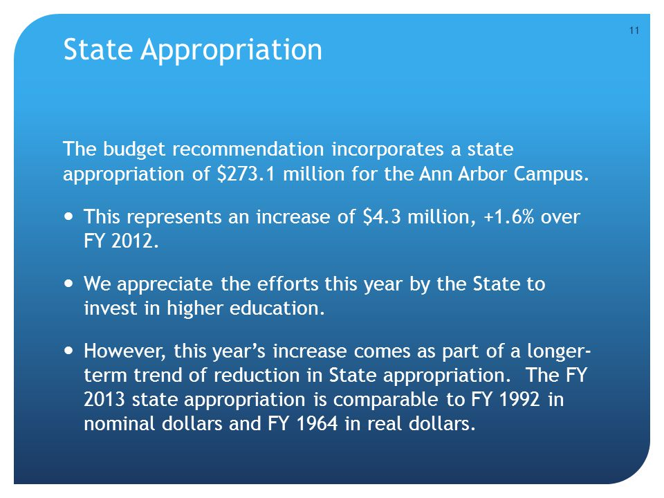 State Appropriation The budget recommendation incorporates a state appropriation of $273.1 million for the Ann Arbor Campus. This represents an increa