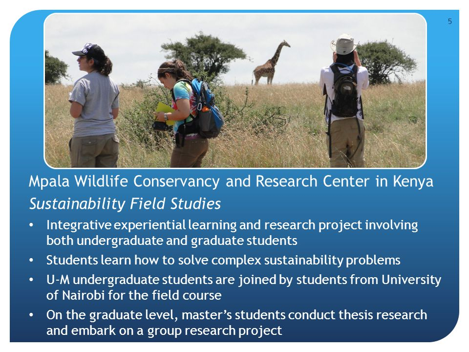 5 Mpala Wildlife Conservancy and Research Center in Kenya Sustainability Field Studies Integrative experiential learning and research project involving both undergraduate and graduate students Students learn how to solve complex sustainability problems U-M undergraduate students are joined by students from University of Nairobi for the field course On the graduate level, master's students conduct thesis research and embark on a group research project