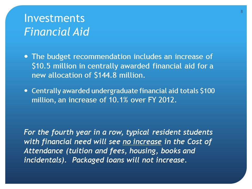Investments Financial Aid The budget recommendation includes an increase of $10.5 million in centrally awarded financial aid for a new allocation of $