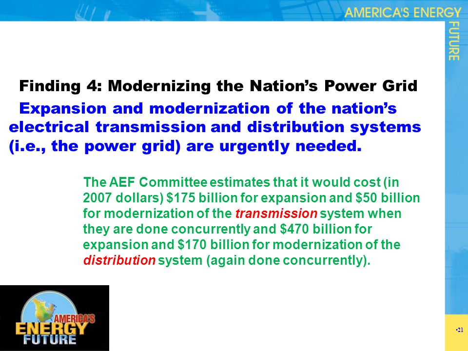 Finding 4: Modernizing the Nation's Power Grid Expansion and modernization of the nation's electrical transmission and distribution systems (i.e., the