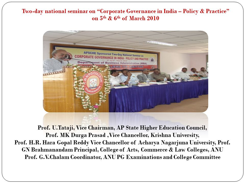 Prof. U.Tataji, Vice Chairman, AP State Higher Education Council, Prof. MK Durga Prasad,Vice Chancellor, Krishna University, Prof. H.R. Hara Gopal Red