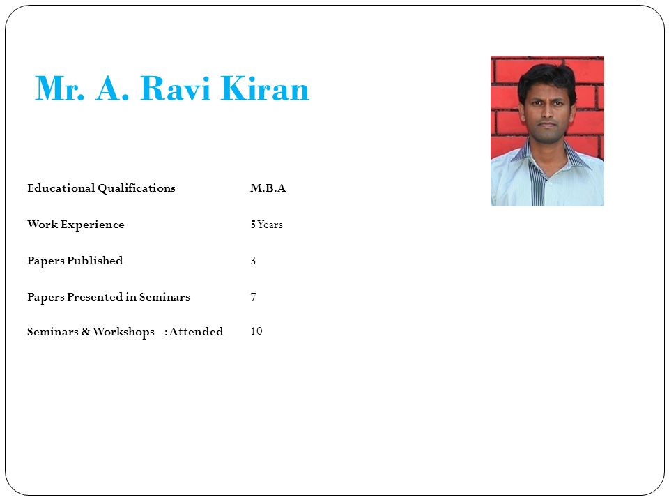 Mr. A. Ravi Kiran Educational QualificationsM.B.A Work Experience5 Years Papers Published3 Papers Presented in Seminars7 Seminars & Workshops : Attend