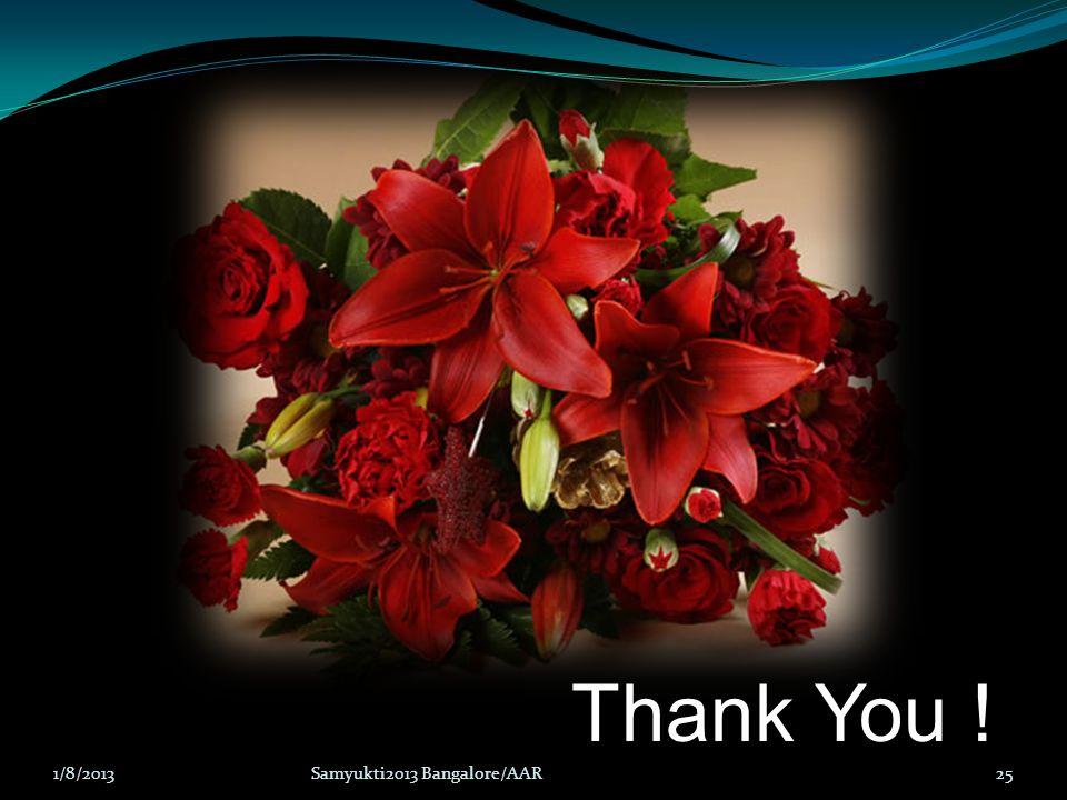 25 Thank You ! 1/8/2013Samyukti2013 Bangalore/AAR