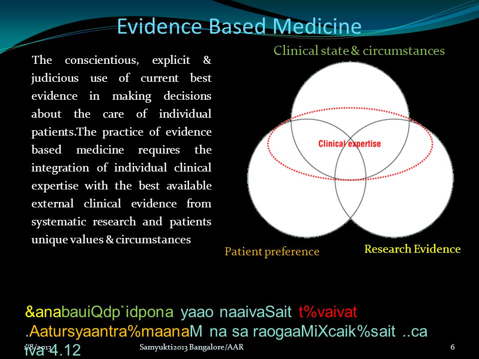 Evidence Based Medicine The conscientious, explicit & judicious use of current best evidence in making decisions about the care of individual patients