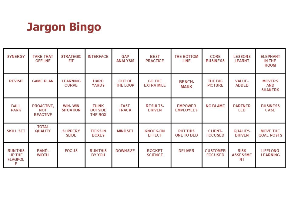 Jargon Bingo SYNERGYTAKE THAT OFFLINE STRATEGIC FIT INTERFACEGAP ANALYSIS BEST PRACTICE THE BOTTOM LINE CORE BUSINESS LESSONS LEARNT ELEPHANT IN THE ROOM REVISITGAME PLANLEARNING CURVE HARD YARDS OUT OF THE LOOP GO THE EXTRA MILE BENCH- MARK THE BIG PICTURE VALUE- ADDED MOVERS AND SHAKERS BALL PARK PROACTIVE, NOT REACTIVE WIN- WIN SITUATION THINK OUTSIDE THE BOX FAST TRACK RESULTS- DRIVEN EMPOWER EMPLOYEES NO BLAMEPARTNER LED BUSINESS CASE SKILL SET TOTAL QUALITYSLIPPERY SLIDE TICKS IN BOXES MINDSETKNOCK-ON EFFECT PUT THIS ONE TO BED CLIENT- FOCUSED QUALITY- DRIVEN MOVE THE GOAL POSTS RUN THIS UP THE FLAGPOL E BAND- WIDTH FOCUSRUN THIS BY YOU DOWNSIZEROCKET SCIENCE DELIVERCUSTOMER FOCUSED RISK ASSESSME NT LIFELONG LEARNING