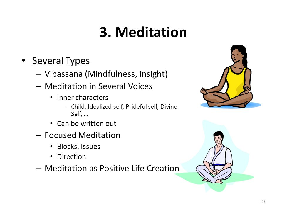 23 3. Meditation Several Types – Vipassana (Mindfulness, Insight) – Meditation in Several Voices Inner characters – Child, Idealized self, Prideful se